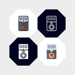 Smart Door Alarm Bell Icon Logo Vector Illustration. with four styles, outline, filled outline, flat and glyph. template for website and company