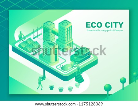Smart eco city mobile concept,  3d isometric design with  intell
