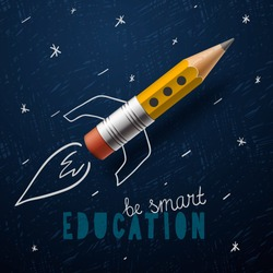Smart education. Rocket ship launch with pencil - sketch on the blackboard, vector illustration.