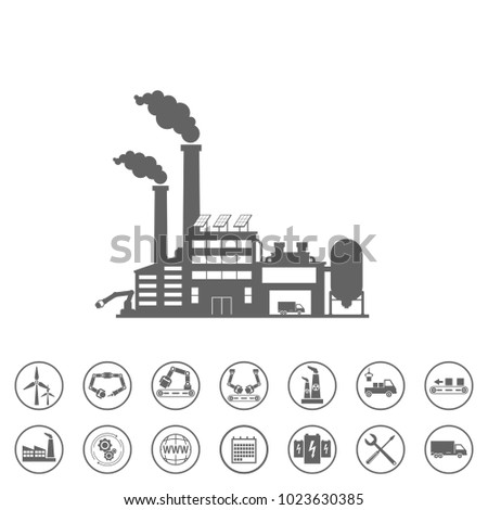 smart factory and icons set