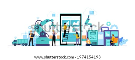 Smart Factory and working person using wireless technology to control. For workflow With clever device. infographic of industry 4.0 concept. Vector illustration