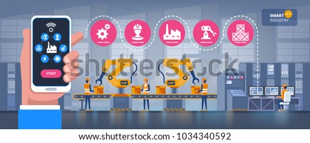 Smart factory. Industry 4.0 monitoring app on a smartphone and smart automated production line with workers and robots on the background Vector illustration