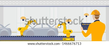 Smart factory with workers, robots and assembly line automotive, industry technology concept. Production technology concept illustration.