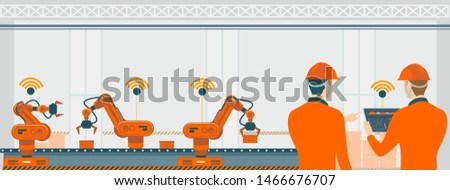 Smart factory with workers, robots and assembly line, industry technology concept. Production technology concept illustration.