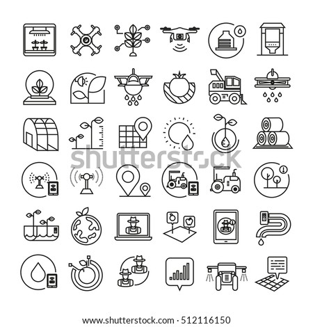 smart farm icons, smart agriculture icons, bold line