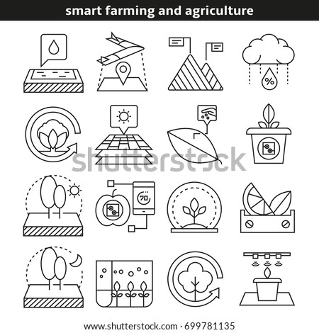 smart farming and agriculture icons in line style