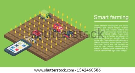 Smart farming concept banner. Isometric illustration of smart farming vector concept banner for web design