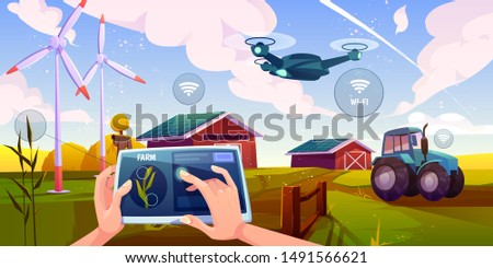 Smart farming, futuristic technologies in farm industry. Tablet with app for control plants growing, drone, wind mills, solar panels, agricultural automation and robotics Cartoon vector illustration