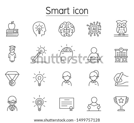 Smart, Genius, intelligence icon set in thin line style