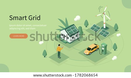 Smart Grid Technology with Renewable Energy. Wind Electricity Generators and Solar Panels Connected to Smart House and Electric Car. Sustainability and Eco Energy. Flat Isometric Vector Illustration.