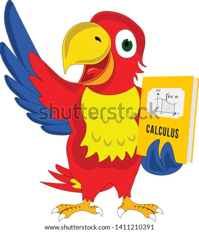 smart happy cartoon character parrot presenting holding calculus book