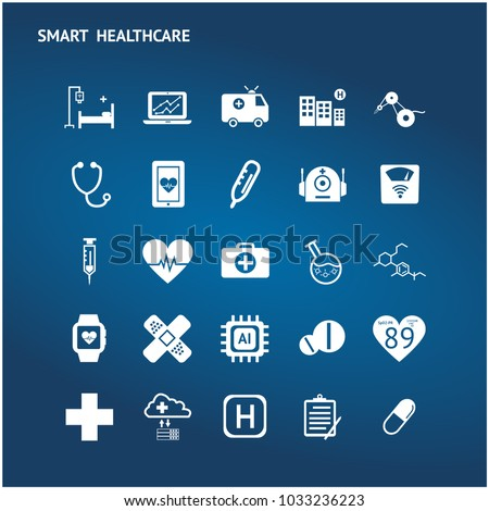 Smart health care internet of things and hospital automation management technology trend concept. White icons set on blue background.