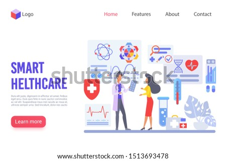 Smart healthcare vector landing page template. Innovation ody diagnostics website design layout. Modern treatment methods web page concept. Medical clinic, research institute webpage interface