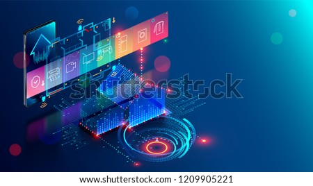 Smart home abstract background. Smartphone app of automation internet of things of intellectual house. System of control Appliances via wifi network. Modern building with mobile monitoring and iot.