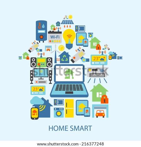 smart home automation technology decorative icons set vector illustration 216377248 shutterstock. Black Bedroom Furniture Sets. Home Design Ideas