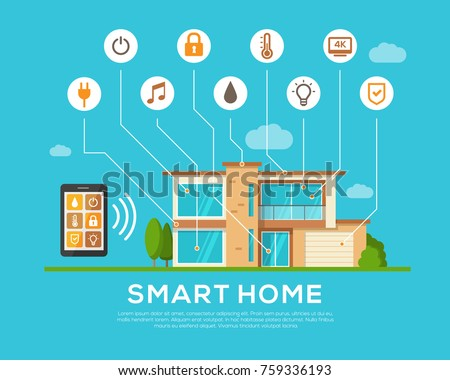Smart Home concept. Automation concept. Smart systems and technology. Mobile apps. Security, thermostat, light bulb, music. Modern infographic elements. Flat style. Vector illustration.