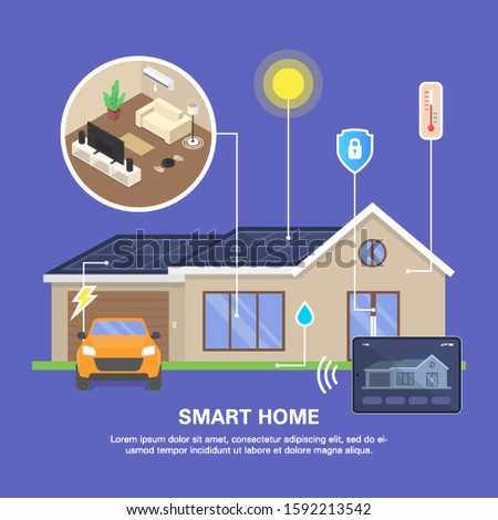 Smart home concept. Automation, modern technology, centralized management through a mobile application. Flat vector isometric illustration.