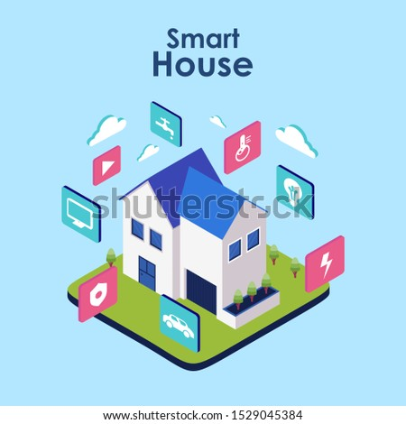 Smart home. Concept of house technology system with wireless centralized control