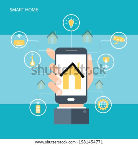 Smart home. Concept of house technology system with wireless centralized control.