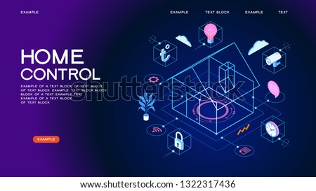 Smart home control concept. Smart house infographic. Concept home with technology system. 3d isometric vector illustration.
