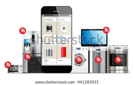 Smart home control system - kitchen and house appliances: microwave, washing machine, refrigerator, gas stove, dishwasher, tv managed by cell phone