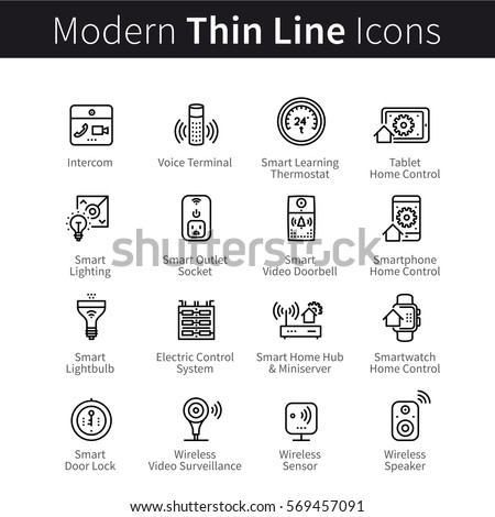 Smart home devices, Internet of Things set. Remote & smartphone controlled sensors, outlets, lightbulbs, other appliances for house or office. Thin line art icons. Linear style illustrations.