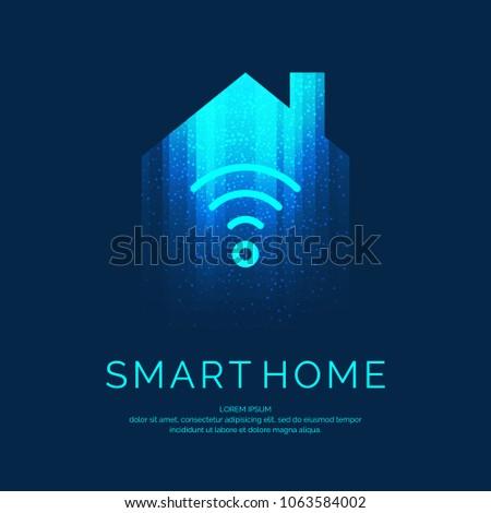 Smart home emblem for digital technologies. Vector illustration