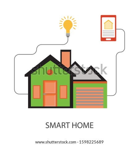 Smart home. Flat design style vector illustration concept of smart house technology system with centralized control
