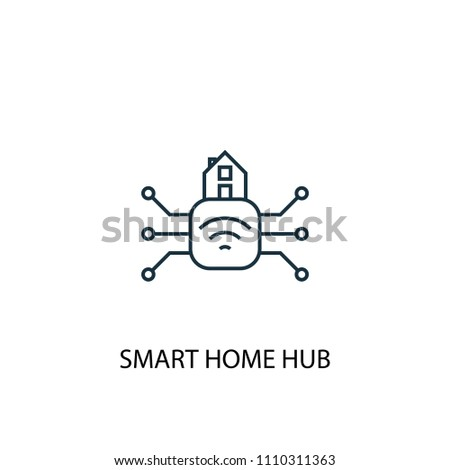 Smart home hub concept line icon. Simple element illustration. Smart home hub concept outline symbol design from Smart home set. Can be used for web and mobile UI/UX
