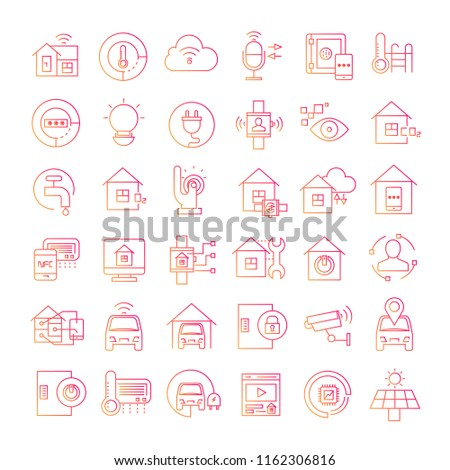 smart home icons red line design