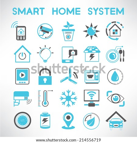 smart home icons set  home