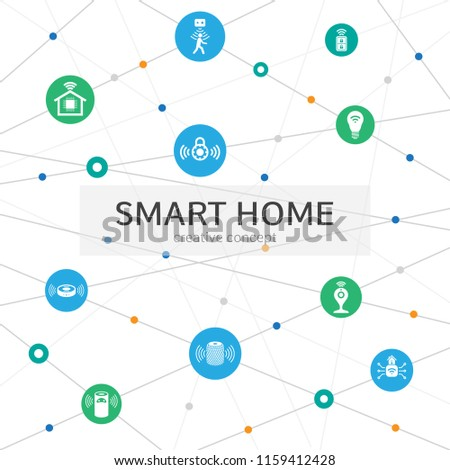Smart home Infographic concept. Abstract background with lines, circles and icons. motion sensor, smart lock, assistant, hub, robot vacuum icons