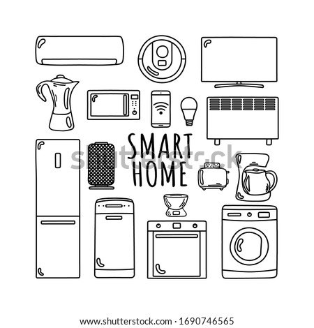 Smart home is hand drawn.  Household appliances in a smart home. Coffee maker, toaster, tv, heater, air conditioning, fridge, oven, dishwasher, washing machine, smart speaker, robot, vacuum cleaner, m Zdjęcia stock ©