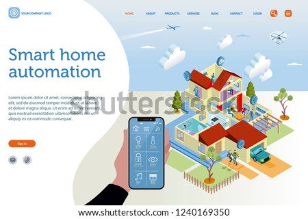 Smart home isometric vector illustration concept. House technology system with wireless centralized control. Home automation assistant controlled by the interface of a smartphone.