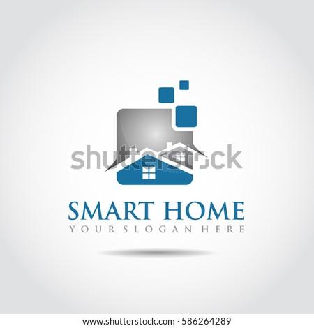 Smart Home Logo Template. Vector Illustrator Eps.10