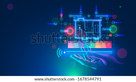 Smart home over screen of smartphone in hand, side view. App of mobile phone of remote control IOT, automation domestic devices technology. Floor plan of house with icons internet of things.