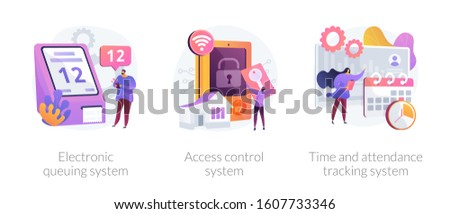 Smart home security, employee attendance monitoring. Electronic queuing system, access control system, time and attendance tracking system metaphors. Vector isolated concept metaphor illustrations.