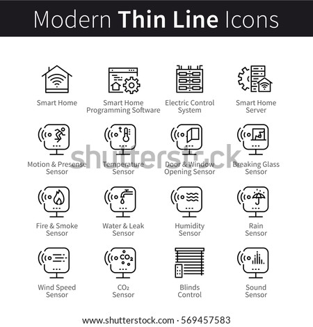 Smart home sensors set. Devices for motion, temperature, humidity, fire and smoke wireless remote electronic control. Thin line art icons. Linear style illustrations isolated on white.