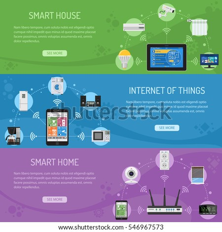 Smart House and internet of things Horizontal Banners with flat icons smartphone, router and tablet controls smart plug, security camera coffee maker microwave and music center. vector illustration