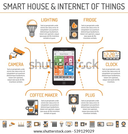 Smart House and internet of things infographics with Two Color flat Icons Set such as smartphone controls smart plug, security camera, coffee maker and clock. Isolated vector illustration