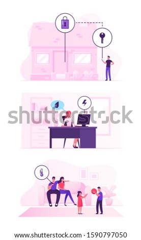 Smart House Technology System Concept. People Using App for Centralized Control of Heating, Security, Electric Power at Home. Futuristic Innovation, Mobile Application. Flat Vector Illustration