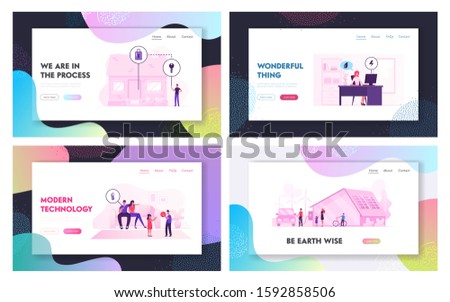 Smart House Technology System Website Landing Page Set. People Using Mobile App for Centralized Control of Heating, Security, Electric Power at Home Web Page Banner. Cartoon Flat Vector Illustration
