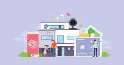 Smart House Technology Tiny People Character Concept Vector Illustration, Suitable For Wallpaper, Banner, Background, Card, Book Illustration, And Web Landing Page