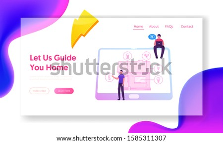 Smart House Website Landing Page. Technology System with Centralized Control of Lighting, Heating Air Conditioning, Security and Video Surveillance Web Page Banner. Cartoon Flat Vector Illustration