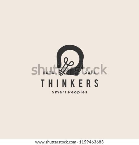 smart human head think bulb