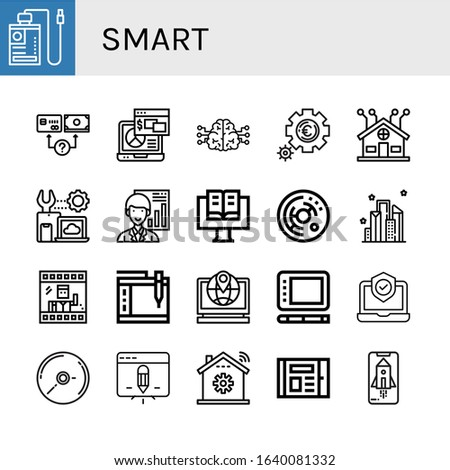 smart icon set. Collection of Power bank, Payment method, Laptop, Brain, Setting, Smart home, Settings, Analyst, Ebook, Cell, City, Photo, Graphic tablet, Cd, Tablet, Home automation icons