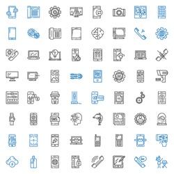 smart icons set. Collection of smart with portable, phone, tablet, smartphone, brainstorm, mobile phone, cellphone, laptop, app, payment method. Editable and scalable smart icons.