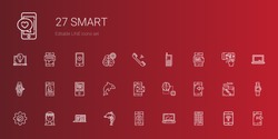 smart icons set. Collection of smart with smartphone, laptop, dolphin, muse, settings, artificial intelligence, domotics, smartwatch, cellphone. Editable and scalable smart icons.