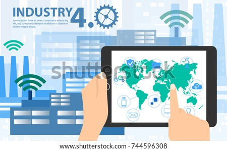 Smart industry 4.0, automation and user interface concept: user connecting with a tablet and exchanging data with a cyber-physical system. Concept Industry 4.0 and 4th industrial revolution.