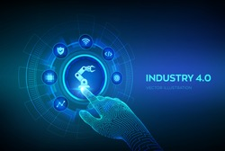 Smart Industry 4.0 concept. Factory automation. Autonomous industrial technology. Industrial revolutions steps. Robotic hand touching digital interface. Vector illustration.